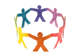 Circle of colourful people with clipping path