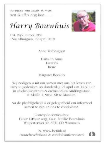 Overlijdensbericht Harry Bouwhuis